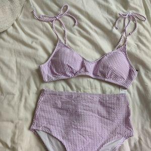 JCrew French girl seersucker bikini top